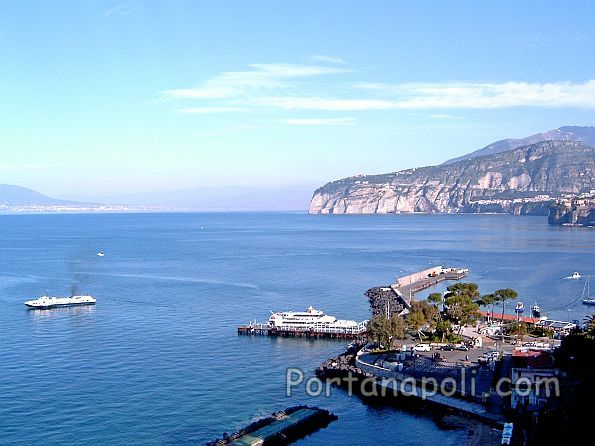 Port of Marina Piccola and view of the Gulf of Naples